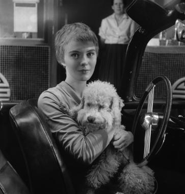 Jean Seberg dans une scène du film « Bonjour Tristesse », Paris, 1957
